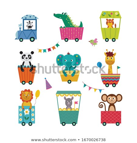 Childish train with cute animals flat vector illustration Stock photo © Decorwithme