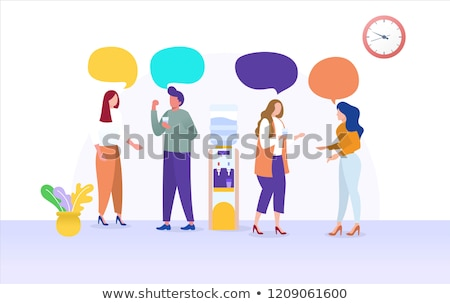 team of business people having water cooler chat stock photo © kzenon