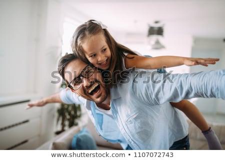 Photo stock: Père · jouer · enfants · maison · canapé · famille
