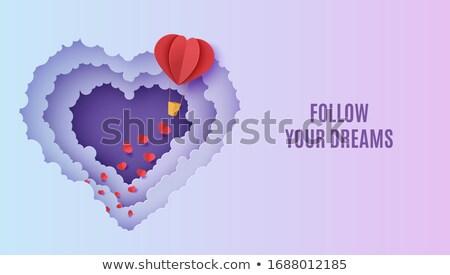 Cute papercut hot air balloon background at night Stock photo © cienpies