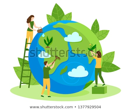 Environment Day card of people and green plant Stock photo © cienpies