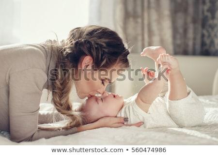Foto stock: Jovem · mãe · recém-nascido · criança · família