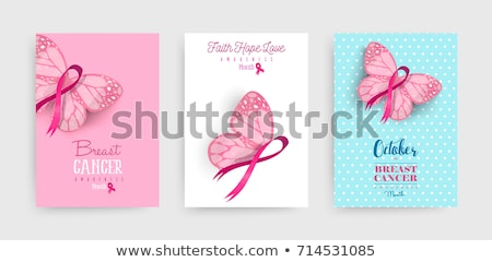 Breast cancer awareness pink butterfly label quote stock photo © cienpies