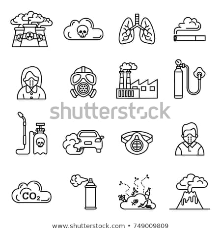 Nuclear plant, smoke from the factory chimney icon, air pollution, Stock Vector illustration isolate Stock photo © kyryloff