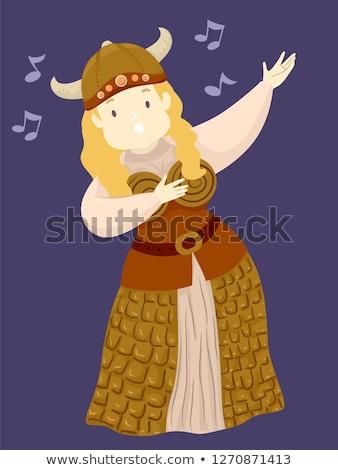 Girl Viking Girl Opera Singer Illustration Stock photo © lenm