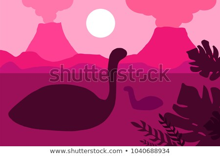 Floating dinosaurs on a background of volcanoes Stock photo © barsrsind