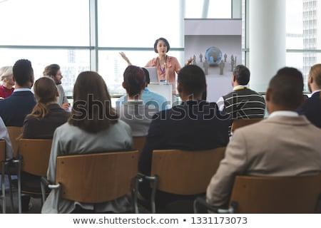 Vorderseite · Ansicht · weiblichen · Lautsprecher · Laptop · Business - stock foto © wavebreak_media