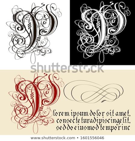 Stock fotó: Dekoratív · gótikus · p · betű · kalligráfia · vektor · eps8