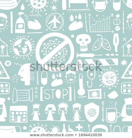 Griep medische vector dun lijn Stockfoto © pikepicture