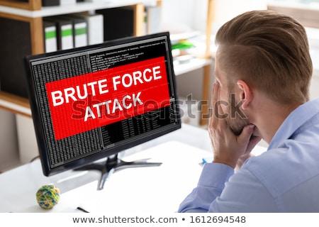 Ontdaan zakenman naar aanval computerscherm Stockfoto © AndreyPopov