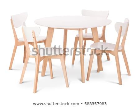 Moderne eettafel stoelen glas vier leder Stockfoto © magraphics