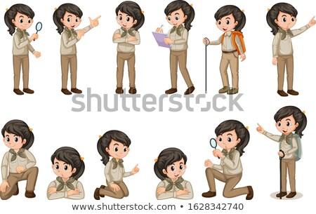 Menina escoteiro uniforme muitos branco ilustração Foto stock © bluering