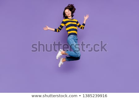 happy smiling woman in striped pullover Stock photo © dolgachov