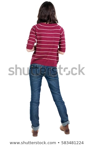 surprised young woman in striped pullover Stock photo © dolgachov