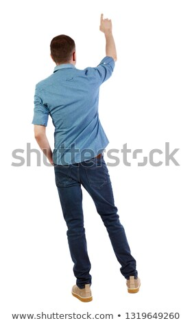 young man showing one finger over sky Stock photo © dolgachov