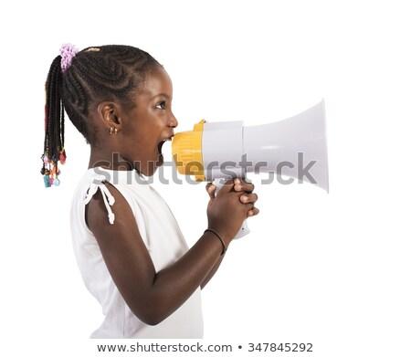little african american girl shouting to megaphone Stock photo © dolgachov