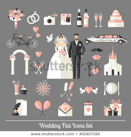 Araba limuzin düğün töreni vektör ikon ince Stok fotoğraf © pikepicture