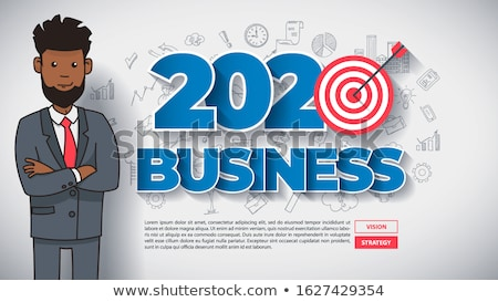 Creative Business Thinking Within 2020 Year Funny Afroamerican Cartoon Guy Foto stock © Tashatuvango