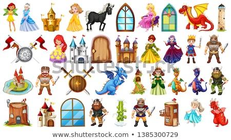 Set of fairytale characters and castle towers Stock photo © bluering