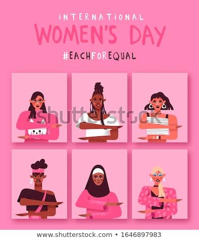 Женский день равный женщину карт набор Сток-фото © cienpies