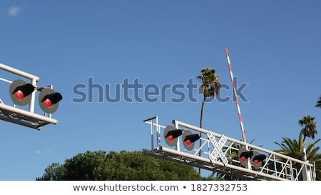 vonat · figyelmeztető · jel · vasút · felirat · szállítás · citromsárga - stock fotó © inaquim