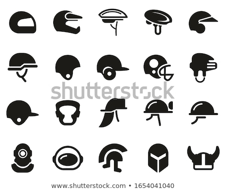 Brandweerman masker helm icon schets illustratie Stockfoto © pikepicture