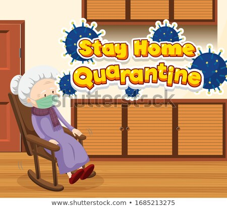 Scene with old woman staying at home alone Stock photo © bluering