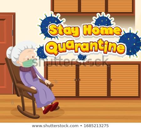 Jelenet öregasszony otthon egyedül illusztráció nő Stock fotó © bluering