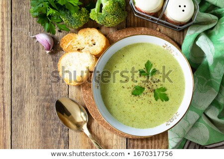 Vegan yeşil brokoli çorba iki yüzlü hindistan cevizi Stok fotoğraf © furmanphoto