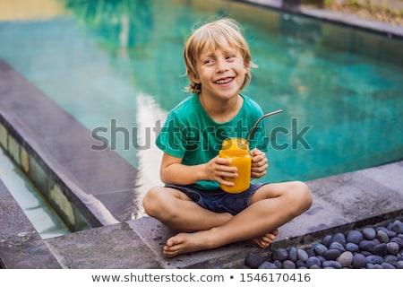 Mangó smoothie acél iszik szalmaszál medence Stock fotó © galitskaya