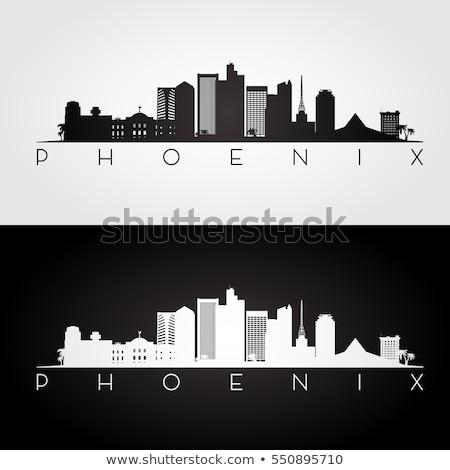 Phoenix zwart wit silhouet eenvoudige toerisme Stockfoto © ShustrikS