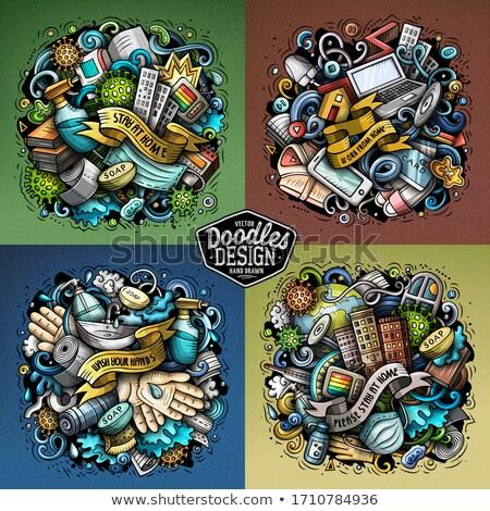 epidemic cartoon vector doodle illustration 4 composition set stock photo © balabolka
