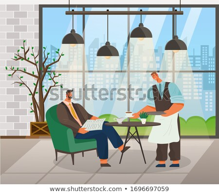 Businessman in Coffeehouse Ordering Coffee Vector Stock photo © robuart