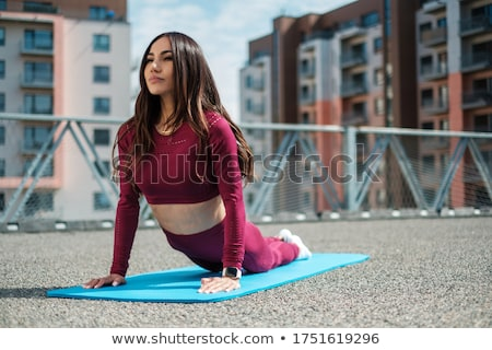 Image of young sportsman in tracksuit doing workout on yoga mat Stock photo © deandrobot