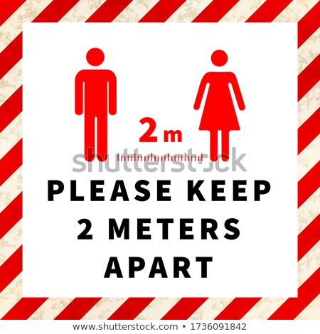 Please keep 2 meters apart, social distancing icon on warning industrial square frame Stock photo © evgeny89