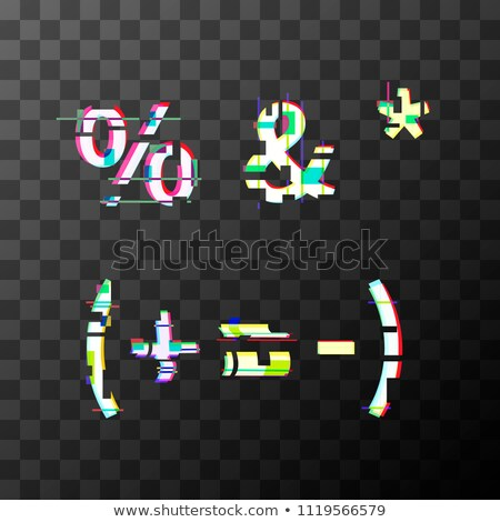 Glitch distortion font. Punctuation characters on transparent Stock photo © evgeny89