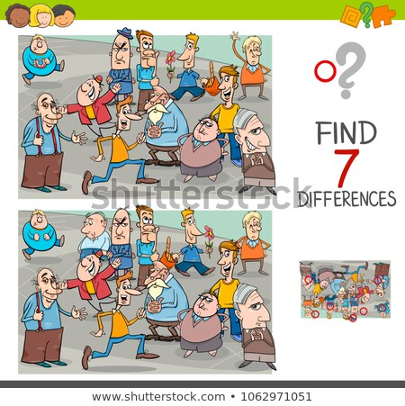 differences educational game with cartoon people and city Stock photo © izakowski
