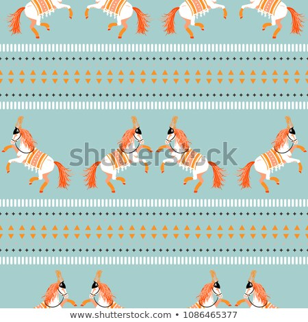 Circus horse tribal seamless vector blue pattern. Stock photo © yopixart
