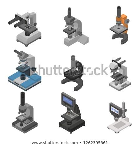 лаборатория микроскопический бактерия изометрический икона вектора Сток-фото © pikepicture