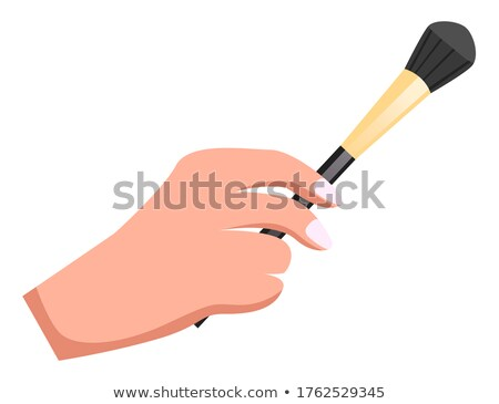 Female hand holding makeup brush, brush for powder or eyeshadows, cosmetic tool or instrument Stock photo © robuart