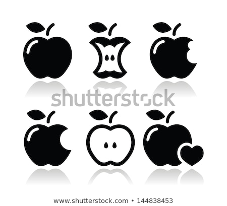 Pomme mordre forme coeur illustration blanche Photo stock © vectomart