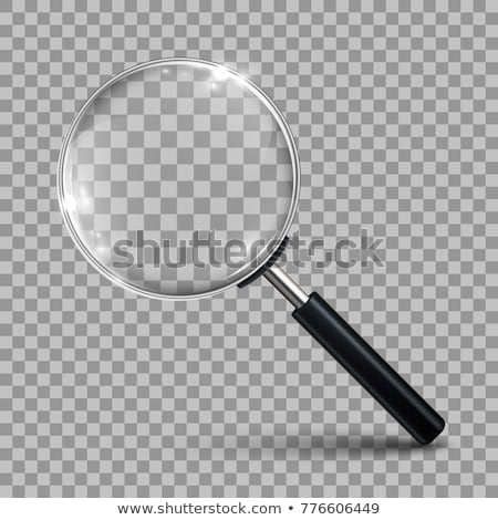 Foto stock: Lupa · foco · palavra · branco · óculos · veja