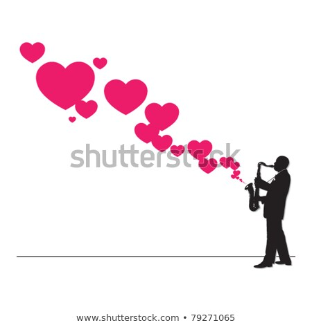 silhouette man blowing heart stock photo © hermione