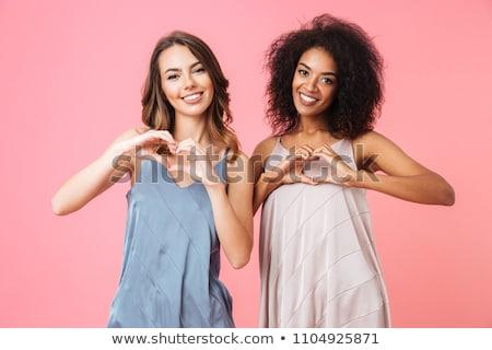 Сток-фото: два · красивой · молодые · девочек · сидеть · полу