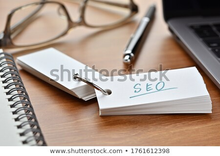 Photo stock: Seo · acronyme · tableau · noir · sticky · notes · blanche