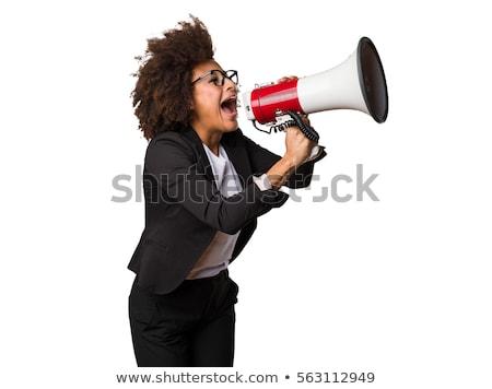 megafone · mulher · isolado · mão · cara - foto stock © photography33