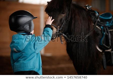 少年 · ポニー · 山 · 子供 · ヘルメット - ストックフォト © photography33