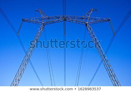 Silhueta ver alta tensão torre céu Foto stock © nuttakit