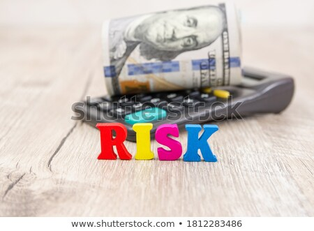 risico · woorden · amerikaanse · bankbiljetten · calculator · witte - stockfoto © Ansonstock
