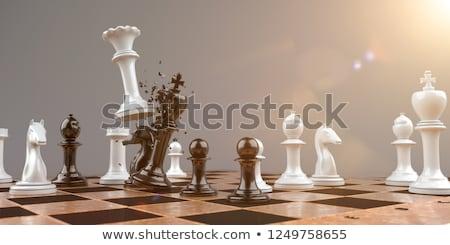 Schaakmat hemel paars achtergrond team succes Stockfoto © mariephoto